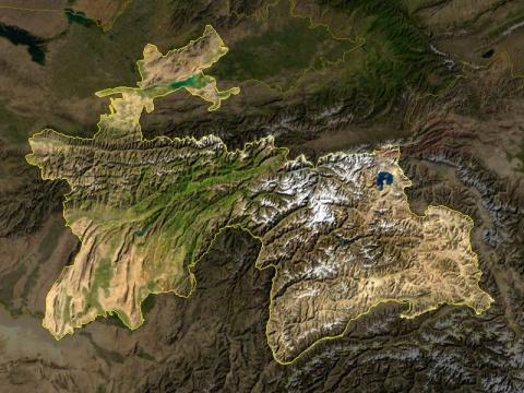 Карта Таджикистан через спутник