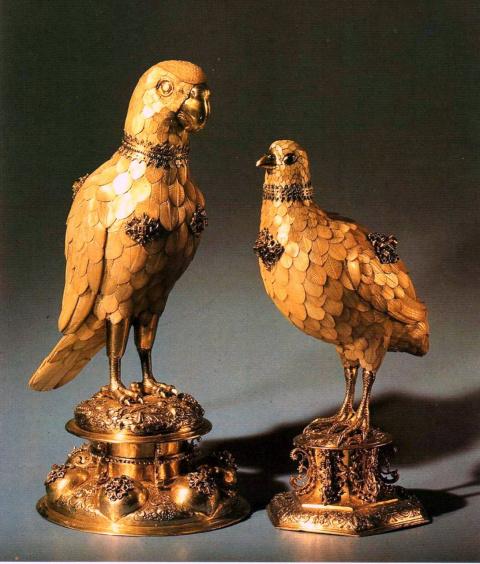 Кубки в виде попугая и куропатки