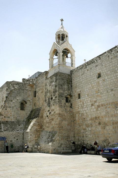 Вид на колокольню храма Рождества Христова в Вифлееме
