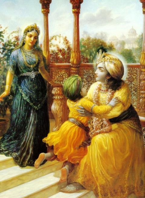 Господь Кришна в Двараке в Своем дворце