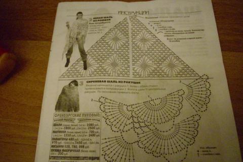 Схема вязаных шалей большими ромбами и ракушками.