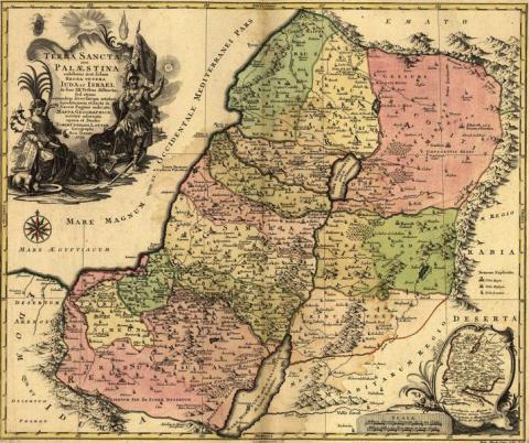 Карта Палестины 1759 года, показывающая расселение двенадцати колен Израиля