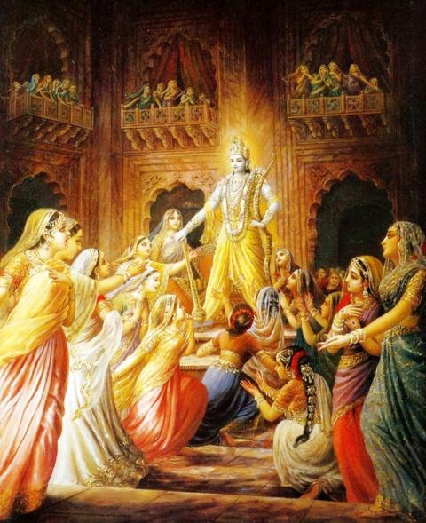 Кришна берет в жены 16000 девушек