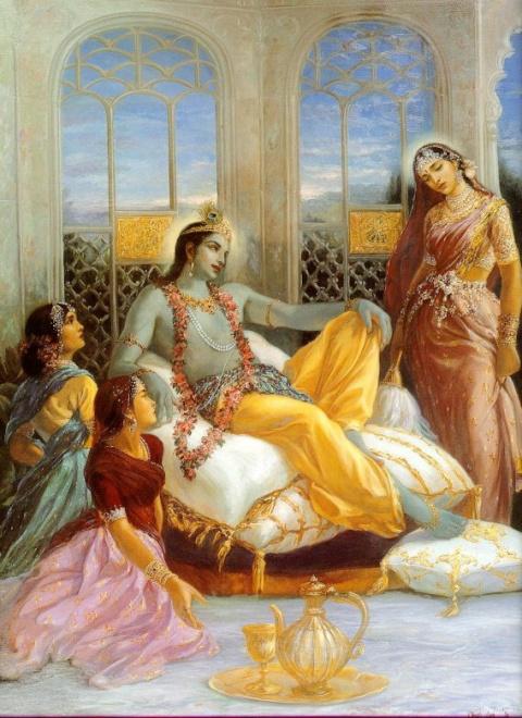 Кришна и Рукмини в Двараке