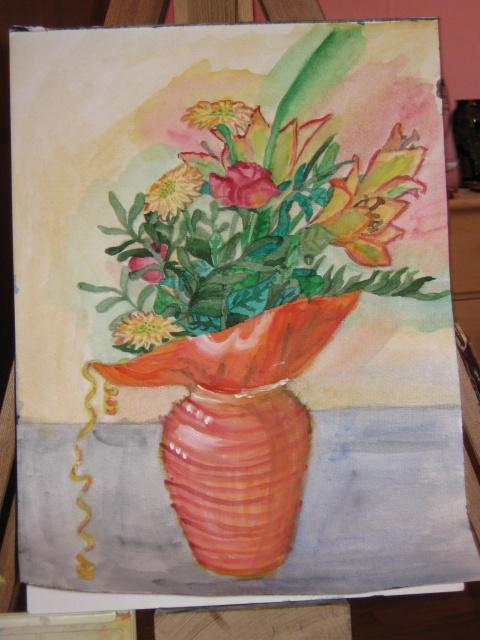 Букет в оранжевой вазе