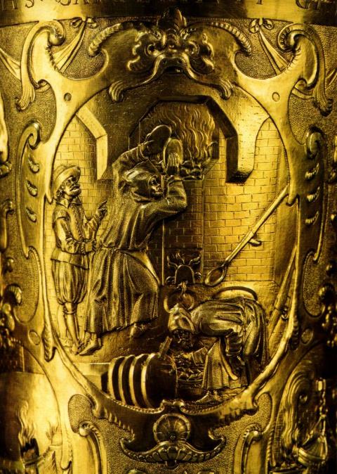 деталь кубка для приветствия гостей из загородного дома курфюрста в Грюнтале