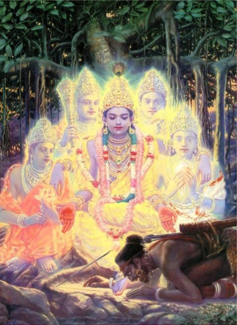 Верховный Господь Кришна явил Вселенскую форму мудрецу Бхригу