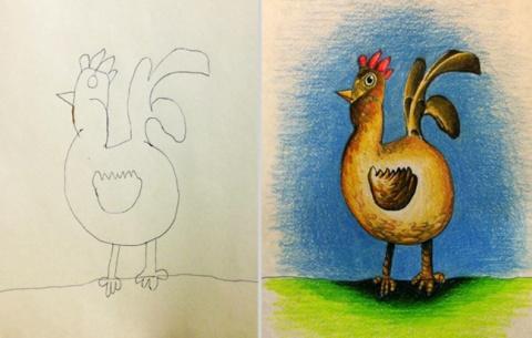 Папа раскрасил рисунки детей