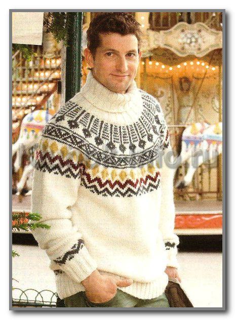 Пуловер с круглой кокеткой, воротником гольф и с жаккардовым узором