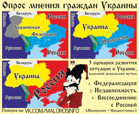 ОПРОС. Вопрос для Юго-Востока Украины - федерализация, объявление независимости или воссоединение с россией?