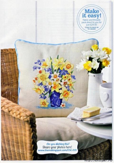 Цветы на подушках. Схемы вышивки крестом