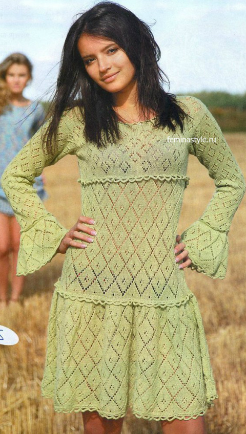 Ажурное платье фисташкового цвета