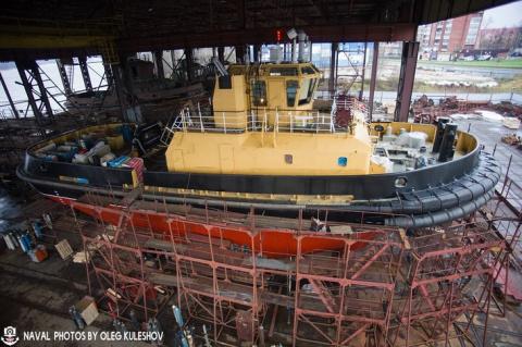 Буксир построенный для Каспийской флотилии, отправился в пункт постоянного базирования
