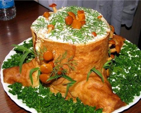 Пенек для салатов (еще один способ как можно интересно подать салат на праздничный стол)