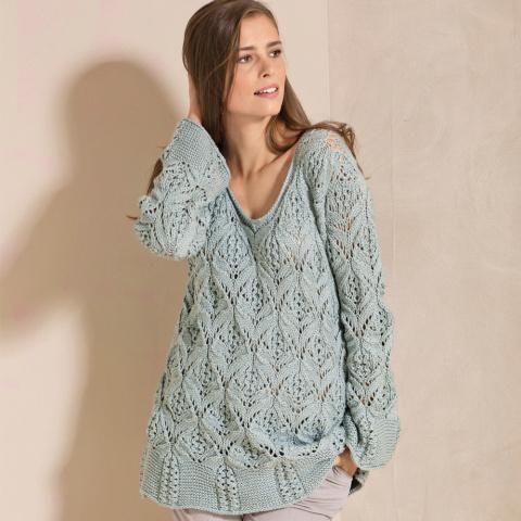 Роскошный ажурный пуловер спицами