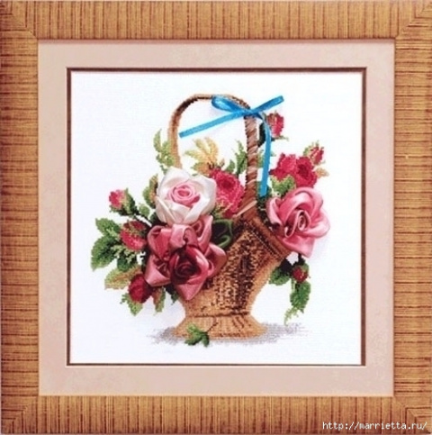 Вышивка крестом и лентами — корзина с розами (со схемами)