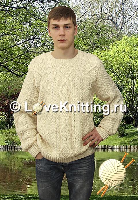 Пуловер с узорами