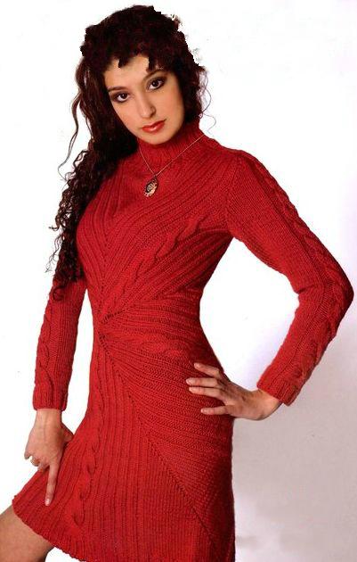 Красивое красное платье спицами