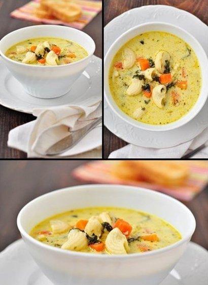 Сырно-молочный суп с овощами…