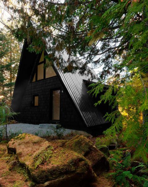Черный домик в лесах Канады
