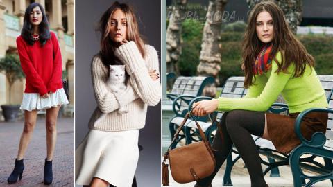 Как носить свитер с юбкой?
