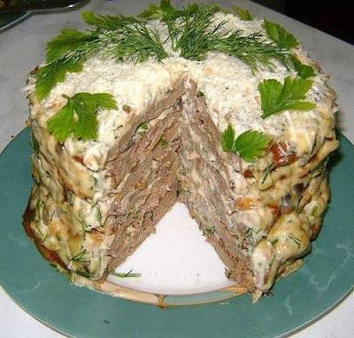 Печёночный торт с грибами
