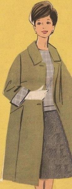 Классное пальто из 1960 г. Выкройка на 50-й размер