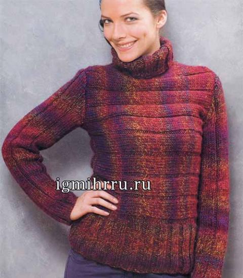 Меланжевый свитер с необычной вязкой