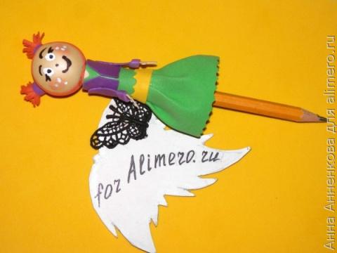 Поделка из фоамирана — куколка на карандаш. Мастер-класс
