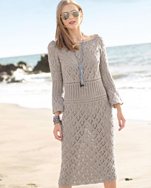 Ажурное платье спицами