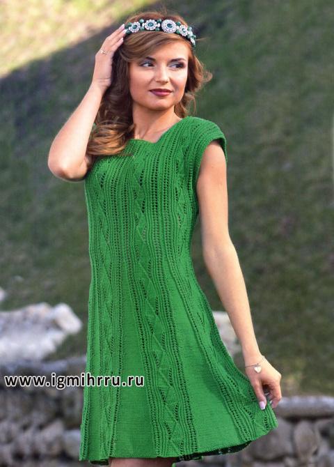 Эффектное платье спицами
