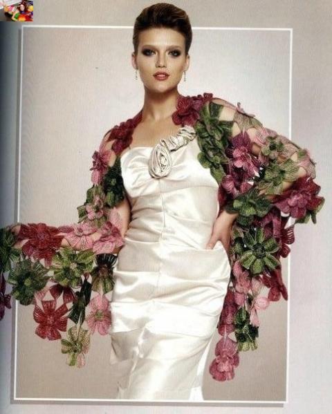 Шикарная шаль «Цветы» (Вязан…