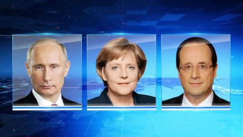 Путин обсудил с Олландом и Меркель провокации Киева в Крыму