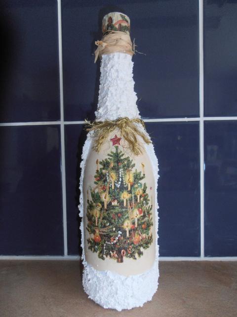 бутылка шампанского. декор своими руками.
