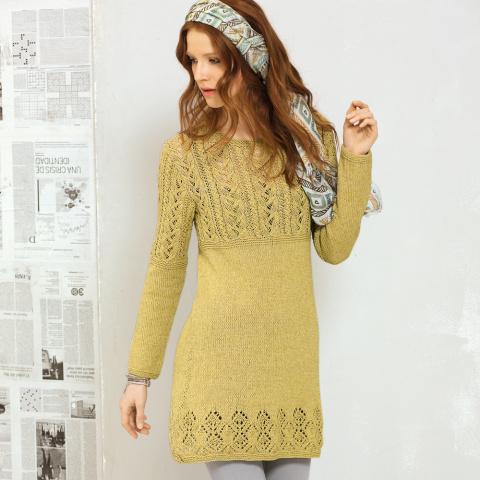Мини-платье с сочетанием узоров спицами