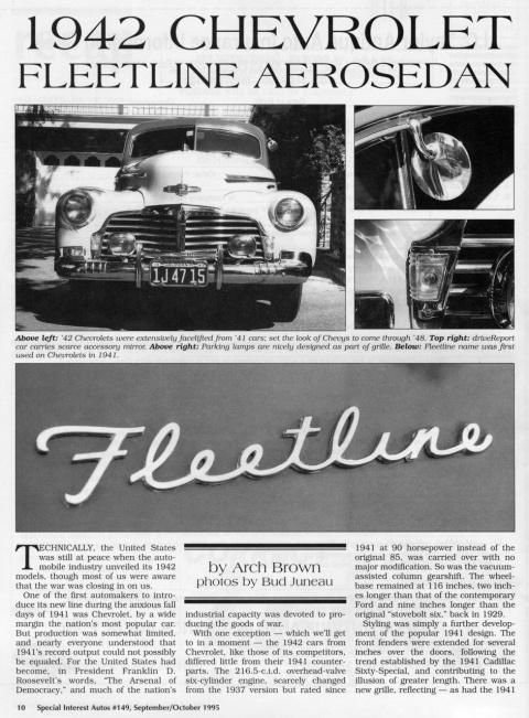 До Второй мировой войны SIA Flashback – 1942 Chevrolet Fleetline Aerosedan - лидер среди недорогих машин.