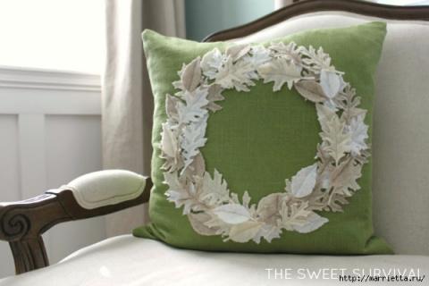 Декорирование подушки листьями. МК
