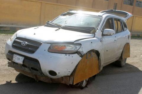 Hyundai Santa Fe напичканный взрывчаткой
