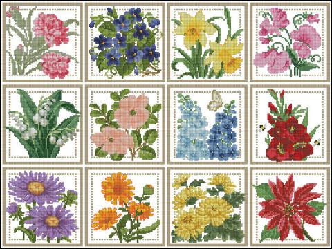 Цветочный календарь —  вышиваем крестиком круглый год