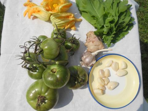 Пряная приправа из зеленых помидоров со щавелем