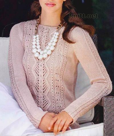 Ажурный пуловер из шелковой пряжи