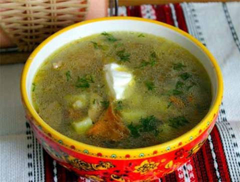 Куриный суп с грибами и перловкой