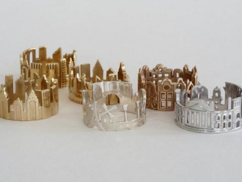 Драгоценные кольца с городскими пейзажами