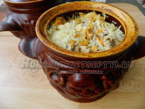 Рис в горшочках с курицей
