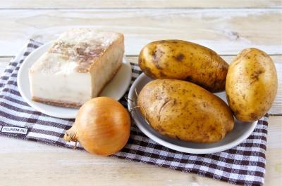 Рецепт: картошка жареная на сале