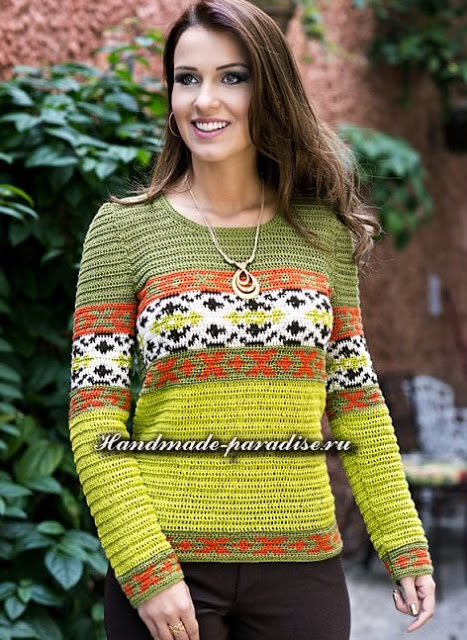 Красивый, яркий пуловер крючком