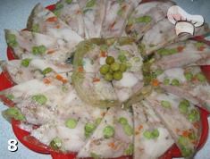 Куриный рулет с овощами в желе