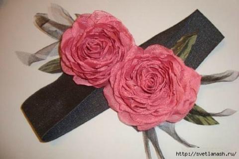 Винтажный пояс с цветком из органзы