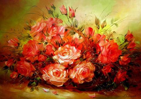 Ароматные цветочные картины художницы Надежды Левицкой