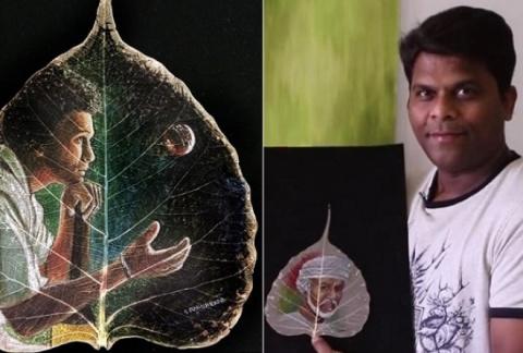 Мини-шедевры на листьях от и…
